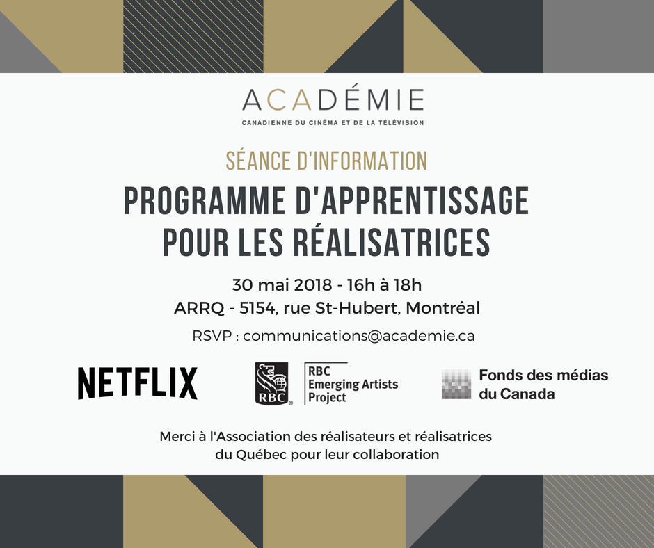 Retour du programme d'apprentissage pour les réalisatrices de l'Académie