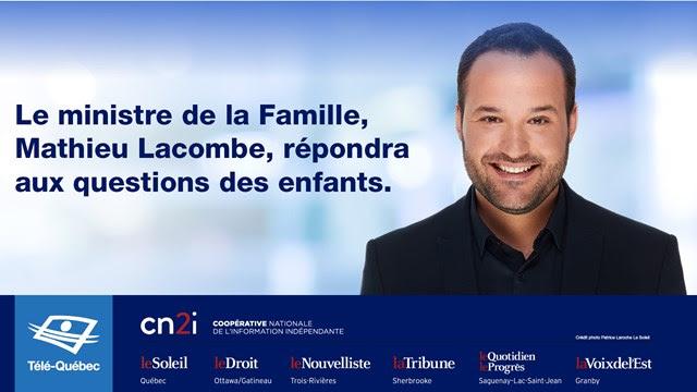 Le ministre de la Famille Mathieu Lacombe répondra aux questions des enfants du Québec