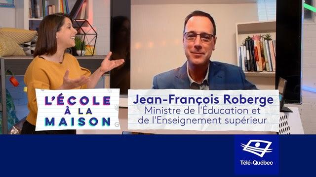 Le ministre Jean-François Roberge participe à L'école à la maison à Télé-Québec
