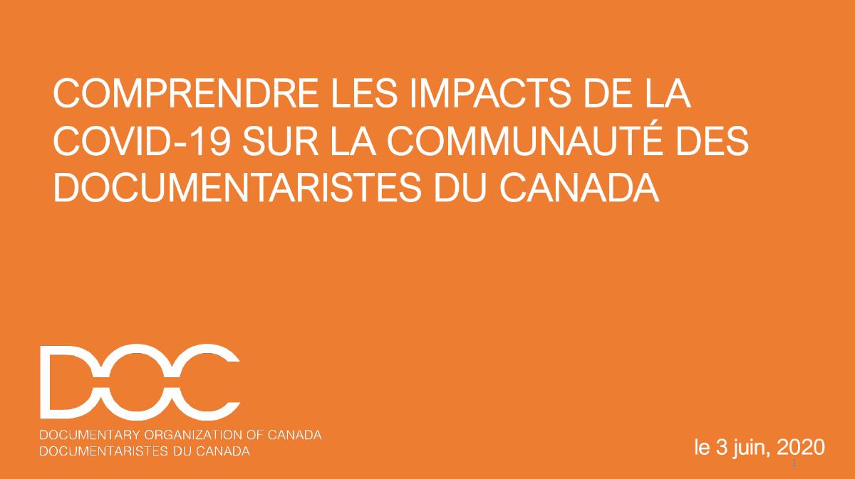 DOC publie les résultats d'un sondage sur l'impact de la COVID-19 sur les travailleurs du secteur du documentaire canadien